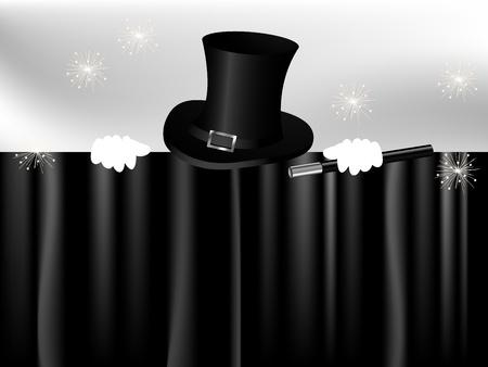Black magic cylinder and magic hand behind black curtain Vector