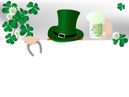 St Patricks background with clover leaves and blooms Vector