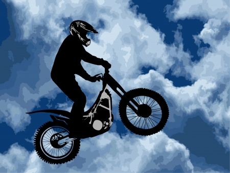 silhouette of motobiker against cloudy sky Vector