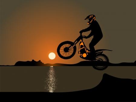 silhouette of motobiker against sunset sky Vector
