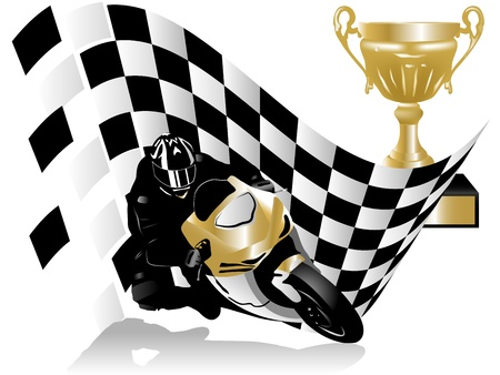 motor racing: illustration of motorcycle racer