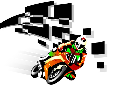 racer flag: Vector illustration of motorcycle racer