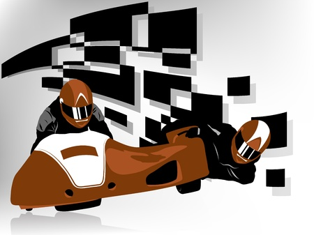 extremesport: Vector illustration of sidecar racer