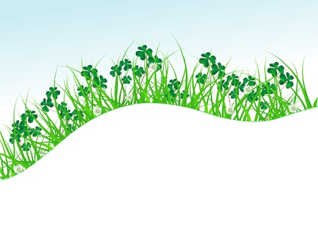 Clover leaves in green grass Stock Vector - 18377316