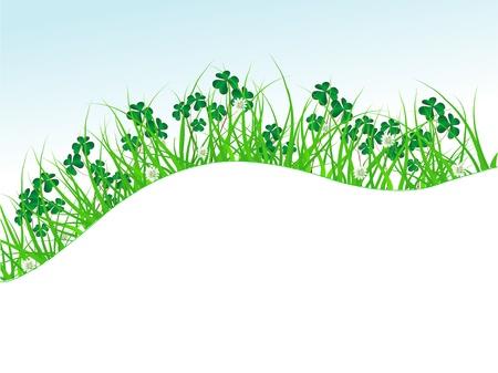 quarterfoil: Clover leaves in green grass Illustration