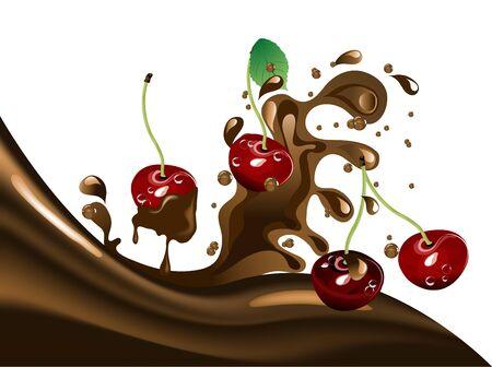 Fresh red cherries  in chocolate splash