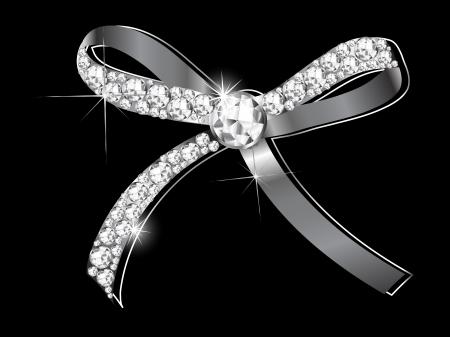 Luksusowe srebrny łuk z diamentami Ilustracje wektorowe