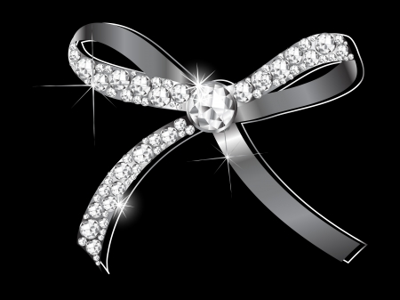 silver jewelry: Luxury silver bow with the diamonds Illustration