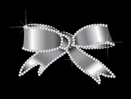 Luxury silver bow with the diamonds Vector