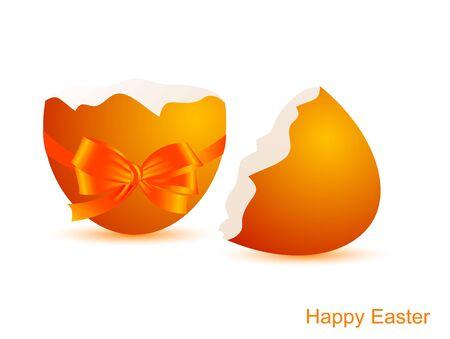 яичная скорлупа: Сломанный яичной скорлупы с оранжевой лентой