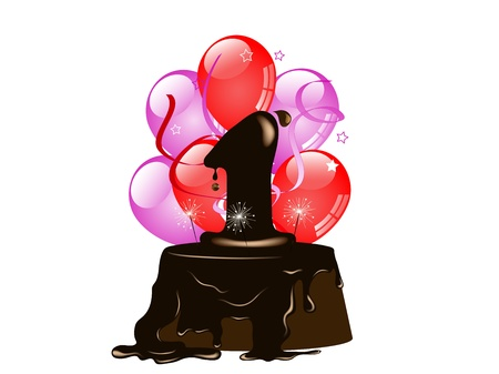 her: Birthday cake for her and party balloons Illustration