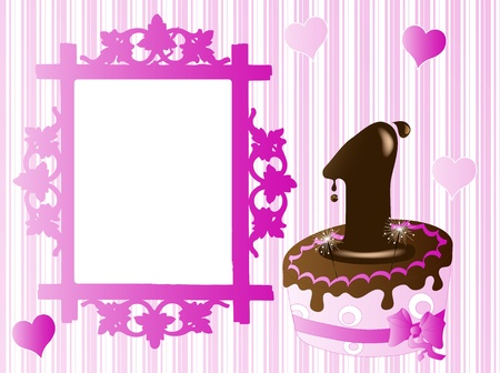 Birthday invitation with chocolate cake Vector