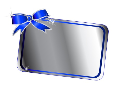 Silver frame with diamond ribbon Stock Vector - 18709306