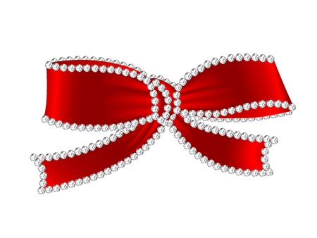 Luxury red bow with the diamonds Vector