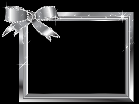 silver jewellery: Silver frame with diamond ribbon Illustration