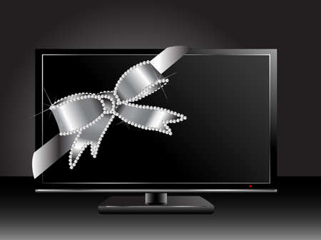 Black plasma or lcd television with silver bow Stock Vector - 18709305