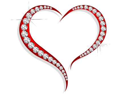 diamond heart: Abstract red heart with silver diamonds
