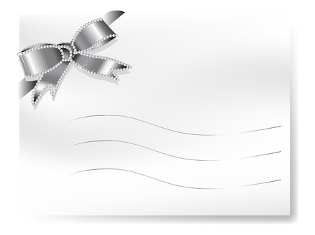 wedding photo frame: Blank card with silver ribbon with diamonds