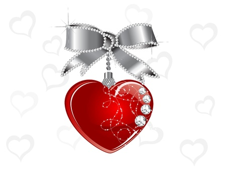 Red heart hanging on silver bow with diamonds Vector