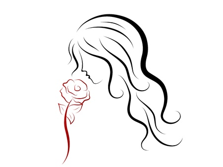 red head girl: Silhouette of beautiful woman with red rose