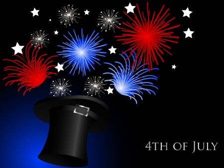 independance day: Carnival background with magic hat and fireworks