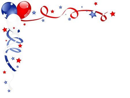 独立記念日の背景に風船、リボン