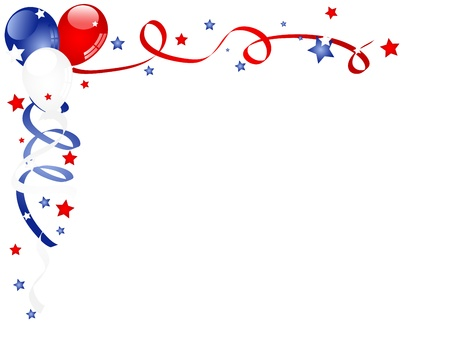 Independence day background with balloons and ribbons