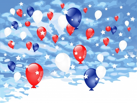 Red, blue and white balloons against blue sky Vector