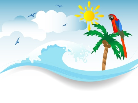 wavelet: Water splash in blue color, palm tree and parrot