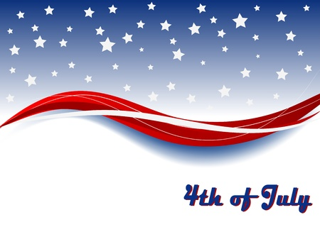 Independence day background with wave and stars Vector