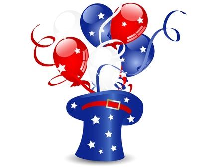 気球と星を持つ青い魔法の帽子  イラスト・ベクター素材