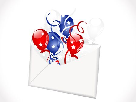 independance day: Open envelope with red, blue and white balloons Illustration
