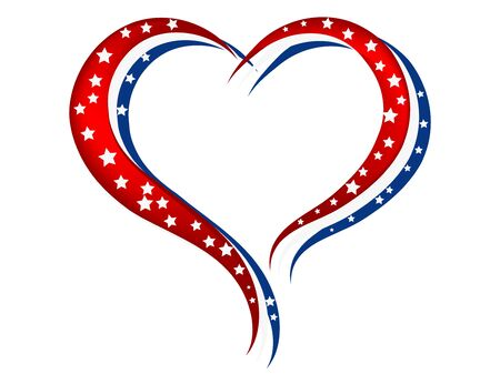 Red, white and blue heart with white stars