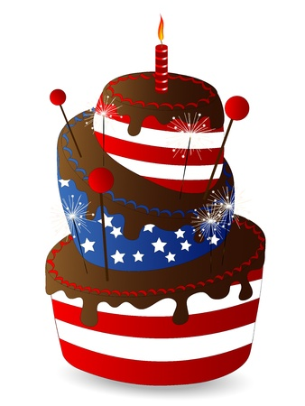baking cake: Chocolate cake with stripes and stars