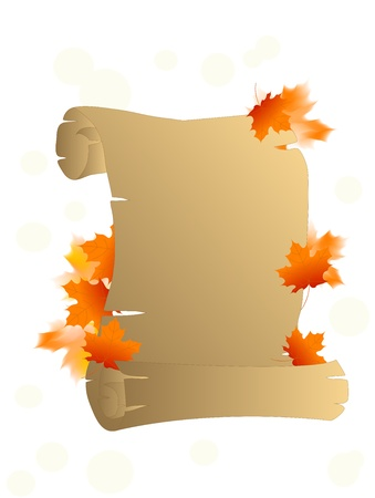 Old brown parchment with orange fall leaves Vector