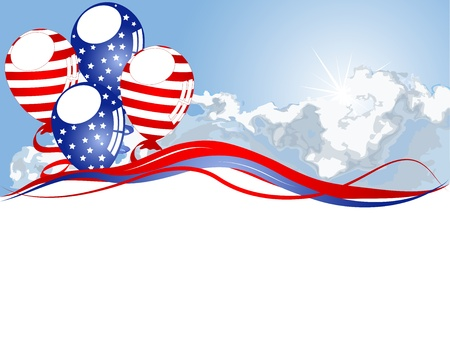 independance: Red, blue and white balloons against blue sky Illustration
