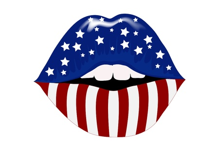 Sexy woman lips with stars and stripes Vector