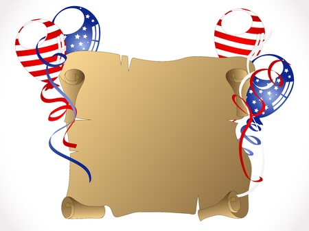 Independence day background with balloons and ribbons  Vector