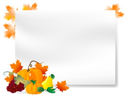 Abstract background with pumpkins and autumn leaves Vector