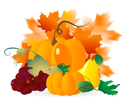 Abstract background with pumpkins and autumn leaves Stock Vector - 19014448