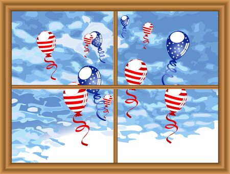 independance day: American party balloons flying against cloudy sky Illustration