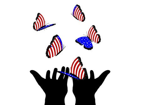 independance day: Silhouette of human hands and many  butterflies