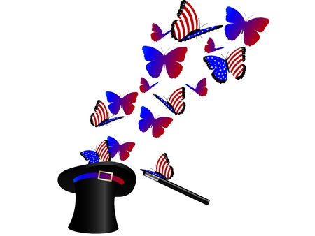 independance: American butterflies flying in magic hat Illustration