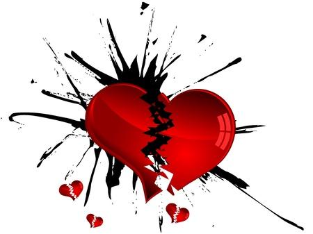 broken love: Red broken hearts and black blot