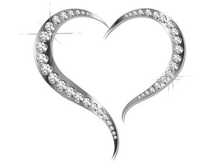 brilliancy: Abstract grey heart with silver diamonds