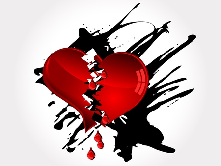 heart broken: Red broken heart and red tears