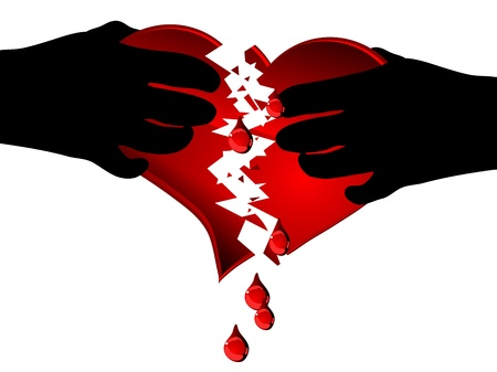 weep: Two hands breaking red heart