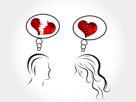 teardrop: Silhouettes of young couple , hearts and tears