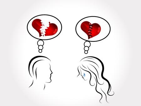 Siluetas de la joven pareja, corazones y las l?grimas
