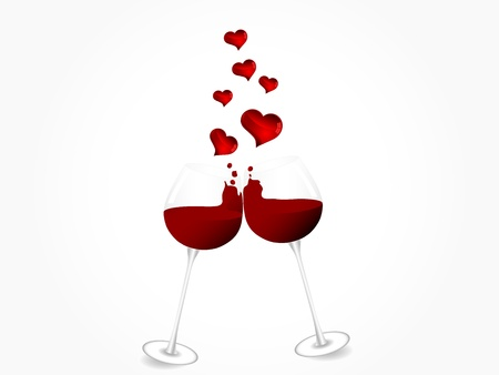 glittery: Two glasses with red wine and hearts Illustration